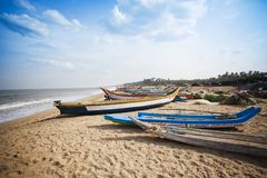 Fishing boats on the beach. Pondicherry, India Royalty Free Stock Images