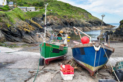 Fishing Boats on the Beach at Portloe Royalty Free Stock Images