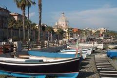 Fishing boats on the beach. Promenade of Pegli near Genoa Royalty Free Stock Photos