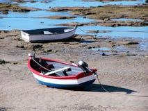 Fishing boats on the beach resort of La Caleta in Cadiz Stock Photo