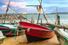 Fishing boats on the beach. Royalty Free Stock Photography