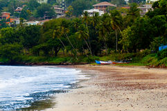 Fishing boats on a beach. Fishing boats on a sandy beach with trees seperating it from the houses Royalty Free Stock Photography