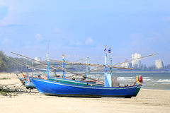 Fishing boats on the beach. - (Shallow of focus) royalty free stock images