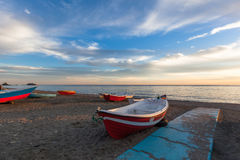 Fishing boats on beach Stock Photography