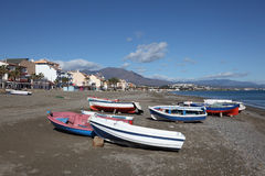 Fishing boats on the beach. Spain Stock Photography