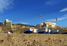 Fishing boats on the beach, Spain Royalty Free Stock Photo