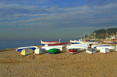 Fishing boats on the beach, Spain Royalty Free Stock Images