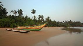 Fishing boats on the beach. Sri Lanka stock footage
