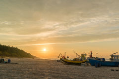 Fishing boats on a beach Stock Photo