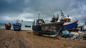 Fishing boats on the beach. View of fishing boats on the beach at Hastings, England Royalty Free Stock Photos