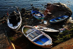 Beached wooden fishing boats Stock Images