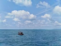 Fishing boats and beautiful views in the sea. Fishing boats beautiful views sea stock image