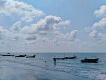 Fishing boats and beautiful views in the sea. Fishing boats beautiful views sea stock photos