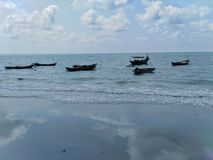 Fishing boats and beautiful views in the sea. Fishing boats beautiful views sea royalty free stock photo