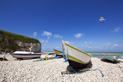 Fishing boats below the cliffs of Yport, Alabaster Coast Stock Photo