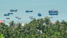 Fishing boats on the Binh Dinh sea in Vietnam Stock Photos
