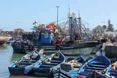 Fishing boats. Blue fishing boats in the harbor of the sea side village of Essaouira, Morocco Stock Images