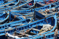 Fishing Boats. Blue fishing boats moored in the harbor of the seaside village of Essaouira, Morocco Stock Images
