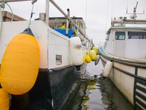 Fishing boats with buoys Stock Image