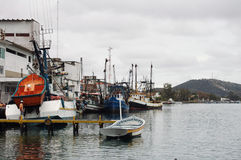 Fishing boats Cabo-Frio Brazil. Fishing boats at a dock in the harbor of Cabo-Frio, Brazil Royalty Free Stock Photo