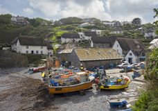 Fishing boats at Cadgwith Cove, Cornwall, England Royalty Free Stock Photography