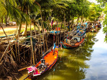 Fishing boats on canal royalty free stock photo