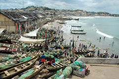 Fishing boats on Cape Coast foreshore Stock Photos