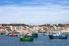 Fishing Boats and Cascais Coastline in Portugal Royalty Free Stock Photo