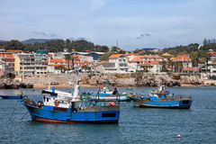 Fishing Boats in Cascais Royalty Free Stock Photography
