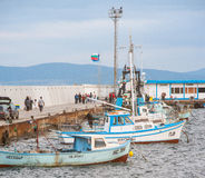 Fishing boats with a catch. Pomorie in Bulgaria Stock Photo