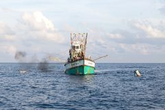 Fishing boats catching fish on Andaman Stock Images
