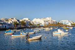 Fishing boats in Charco de San Gines, old harbor in Arrecife Royalty Free Stock Photography