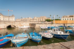 Fishing boats in the city of Syracuse, Sicily Royalty Free Stock Images