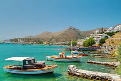 Fishing boats at the coast of Crete Royalty Free Stock Photo