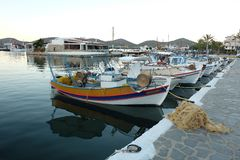 Fishing boats at the coast of Crete, Greece Royalty Free Stock Photo