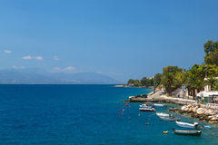 Fishing boats at the coast of Greece in Loutraki Royalty Free Stock Images