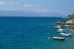 Fishing boats at the coast of Greece in Loutraki Royalty Free Stock Image