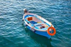 Fishing boats at the coast of Ligurian Sea Stock Images