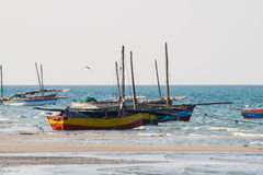 Fishing boats at the coast. Stock Photos