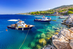 Fishing boats at the coast of Zakynthos Stock Photo
