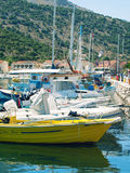 Fishing boats on coastline of Kefalonia, Greece Stock Images