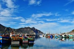 Fishing boats. Colorful Fishing boats in small harbour Stock Photo
