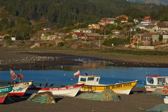 Fishing Boats on a Beach in Chile Royalty Free Stock Image