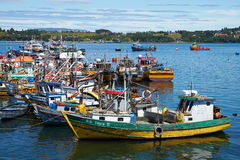 Fishing Boats. Colourful fishing boats in the coastal town of Quellon on the island of Chiloe in Chile Royalty Free Stock Photo
