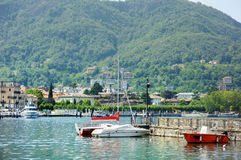 Fishing boats in Como Stock Photos