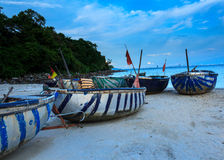 Fishing boats and coracles in the bay Danang-vietnam Royalty Free Stock Images