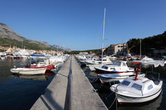 Fishing boats in Croatian town Stock Images