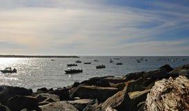 Fishing boats Crowd Entrance to Tillamook Bay Stock Image