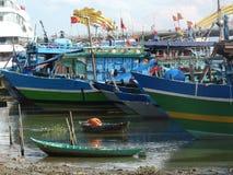 Fishing boats in Da Nang, Vietnam. DA NANG, VIETNAM - Fishing boats tied up in the Han River royalty free stock images