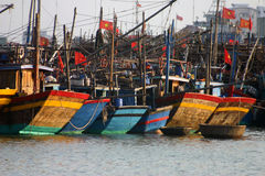 Fishing Boats, Danang Vietnam. Fishing boats tied up in Danang harbor, Central Vietnam Stock Photos